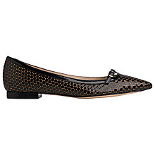 Buy L.K. Bennett Holly Flat Ballerina Pumps, Black/Gold Online at johnlewis.com