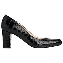 Buy L.K. Bennett Sersha Block Heeled Court Shoes, Black Croc Effect Leather Online at johnlewis.com
