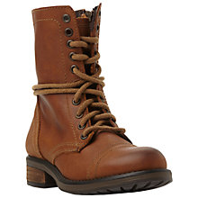 Buy Steve Madden Troopa Lace Up Leather Calf Boots Online at johnlewis.com