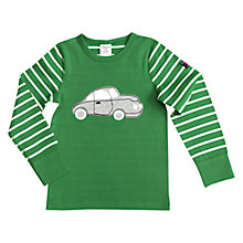 Buy Polarn O. Pyret Children's Striped Car Long Sleeve Top, Green Online at johnlewis.com