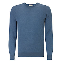 Buy John Smedley Theon Crew Neck Jumper, Baltic Blue Online at johnlewis.com