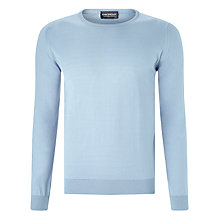Buy John Smedley Luke Crew Neck Jumper, Blue Glass Online at johnlewis.com