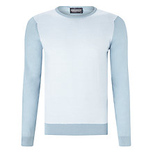 Buy John Smedley Boult Crew Neck Jumper, Blue Glass/White Online at johnlewis.com