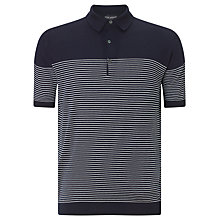 Buy John Smedley Viking 3 Button Polo Shirt, Navy/White Online at johnlewis.com