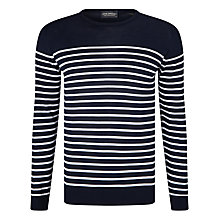 Buy John Smedley Redfree Crew Neck Stripe Jumper, Navy/White Online at johnlewis.com
