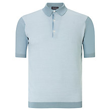 Buy John Smedley Horst 3 Button Polo Shirt, Blue Glass/White Online at johnlewis.com