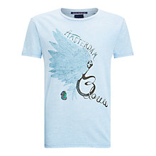 Buy Scotch & Soda Amsterdam Blauw Feather T-Shirt, Sky Blue Melange Online at johnlewis.com