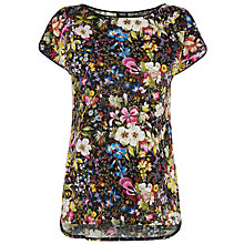 Buy Oasis V and A Midnight Floral T-shirt, Black Multi Online at johnlewis.com