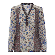 Buy Oasis Printed Peasant Blouse, Multi Online at johnlewis.com