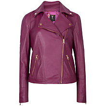 Buy Ted Baker Caryane Leather Biker Jacket, Pale Purple Online at johnlewis.com