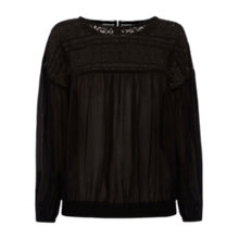 Buy Oasis Gypsy Lace Top, Black Online at johnlewis.com