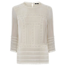 Buy Oasis Embroidered Top, Off White Online at johnlewis.com