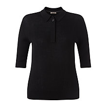 Buy Jigsaw Merino Rib Collar Sweater, Black Online at johnlewis.com