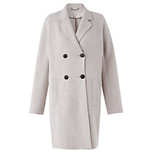 Buy Jigsaw Raw Edge Jersey Coat, Stone Online at johnlewis.com