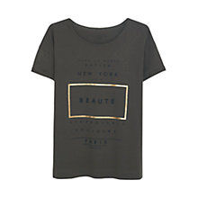 Buy Violeta by Mango Printed Message Cotton T-Shirt Online at johnlewis.com