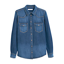 Buy Mango Chest Pocket Denim Shirt, Blue Online at johnlewis.com