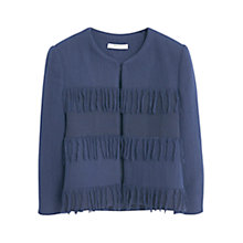 Buy Mango Fringed Jacket, Medium Blue Online at johnlewis.com