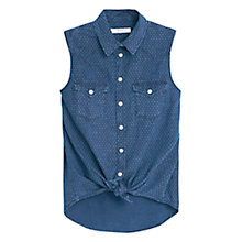 Buy Mango Knot Polka-Dot Shirt Top, Open Blue Online at johnlewis.com