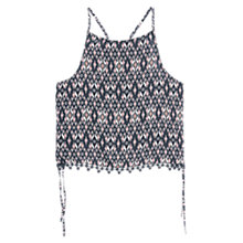 Buy Mango Printed Strap Top, Black Online at johnlewis.com