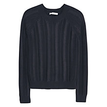 Buy Mango Open Knit Jumper, Navy Online at johnlewis.com