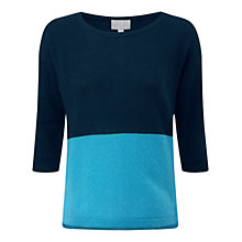 Buy Pure Collection Vale Gassato Cashmere Dipped Hem Jumper, Navy/Topaz Online at johnlewis.com