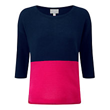 Buy Pure Collection Waddington Gassato Cashmere Dipped Hem Jumper, Navy/Fuschia Online at johnlewis.com