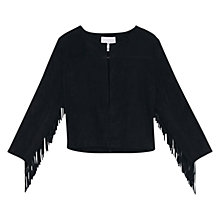 Buy Mango Fringed Suede Jacket, Black Online at johnlewis.com