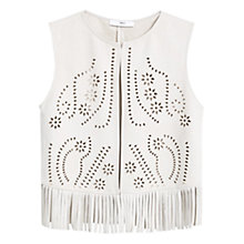 Buy Mango Openwork Gilet, Natural White Online at johnlewis.com