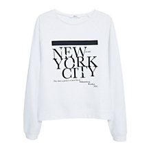 Buy Mango Message Cotton Sweatshirt, White Online at johnlewis.com