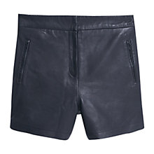 Buy Mango Leather Shorts, Black Online at johnlewis.com