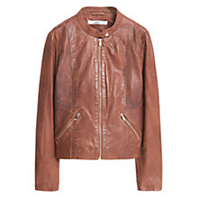 Buy Mango Leather Jacket, Brown Online at johnlewis.com