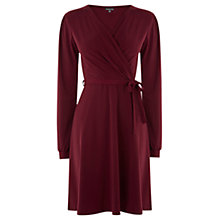 Buy Warehouse Long Sleeve Crepe Wrap Dress, Dark Red Online at johnlewis.com