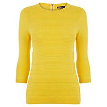 Buy Warehouse Stitch Front Crew Neck Jumper, Mustard Online at johnlewis.com