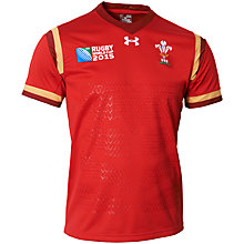Buy Under Armour Children's Wales Rugby World Cup 2015 Rugby Shirt, Red Online at johnlewis.com