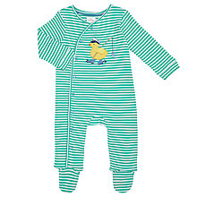Buy John Lewis Baby Duck Stripe Sleepsuit, Green Online at johnlewis.com