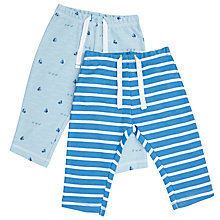 Buy John Lewis Baby Cotton Joggers, Pack of 2, Blue Online at johnlewis.com