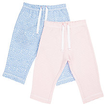 Buy John Lewis Baby Cotton Joggers, Pack of 2, Pink/Blue Online at johnlewis.com