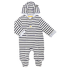 Buy John Lewis Baby Stripe Wadded Pramsuit, Navy/Cream Online at johnlewis.com