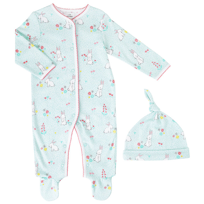 Buy John Lewis Baby Rabbit Sleepsuit and Hat, Turquoise, Early baby Online at johnlewis.com