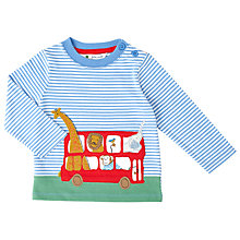 Buy John Lewis Baby Animal Safari Bus Long Sleeve Top, White/Blue Online at johnlewis.com