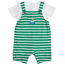 Buy John Lewis Baby Stripe Dungaree Set, Green Online at johnlewis.com