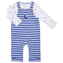 Buy John Lewis Baby Stripe Dungaree Set, Blue/White Online at johnlewis.com