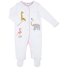 Buy John Lewis Baby Animal Scene Sleepsuit, White Online at johnlewis.com