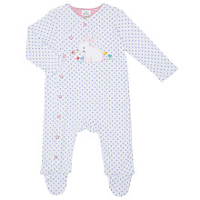 Buy John Lewis Baby Floral and Bunny Sleepsuit, White/Blue Online at johnlewis.com