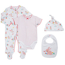 Buy John Lewis Baby Rabbit 4 Piece Set, White/Pink Online at johnlewis.com