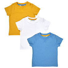 Buy John Lewis Baby Cotton T-Shirt, Pack of 3, Multi Online at johnlewis.com