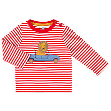 Buy John Lewis Baby Lion Long Sleeve T-Shirt, White/Red Online at johnlewis.com