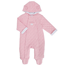Buy John Lewis Baby Marl Wadded Pramsuit, Pink Online at johnlewis.com