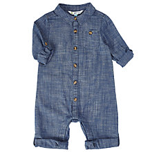 Buy John Lewis Baby Chambray Romper, Blue Online at johnlewis.com