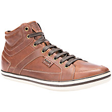 Buy Geox Box Cupsole Hi-Top Leather Trainers, Brown Cotto Online at johnlewis.com